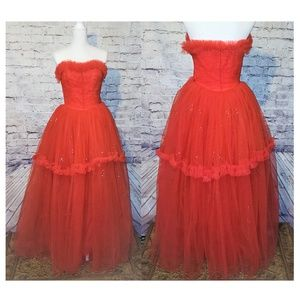 50s /60s Red Tulle Party Dress Vintage princess